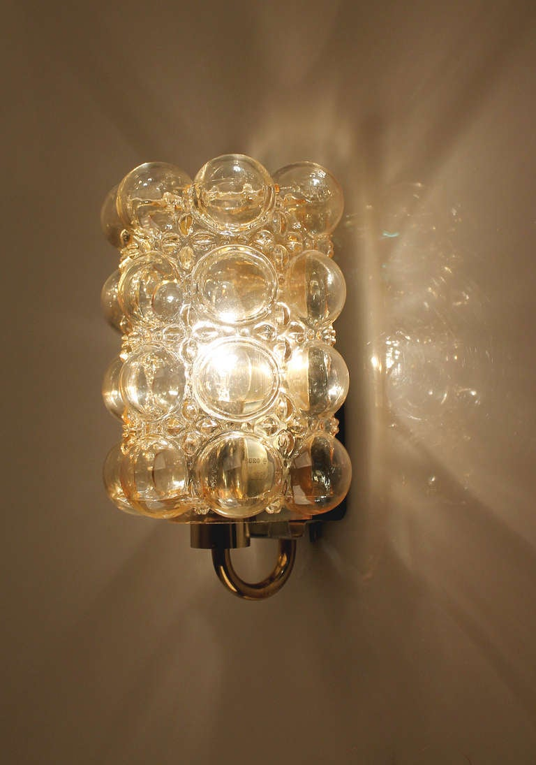 Amber Glass Wall Lights : Limburg Helena Tynell Amber Bubble Glass Sconce Wall Light at 1stdibs