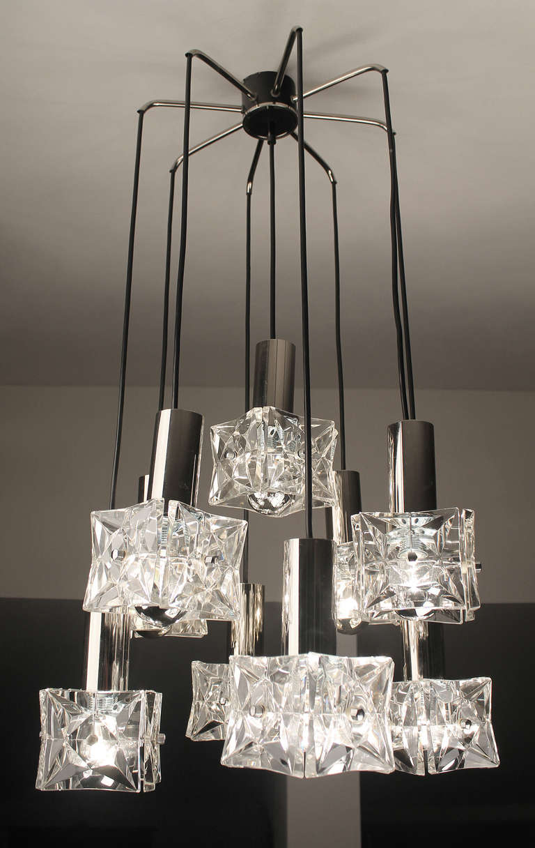 three tier kinkeldey crystal glass and chrome chandelier 1960s