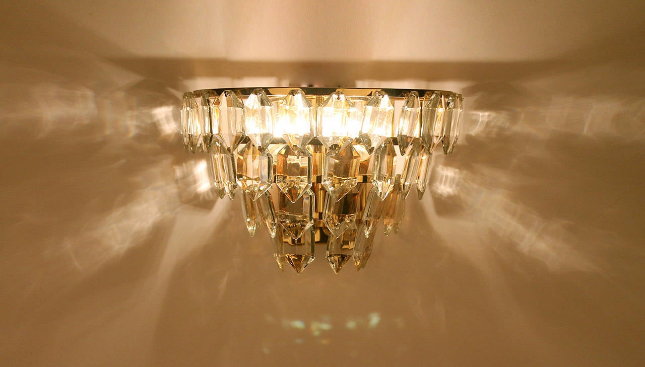Pair of Bakalowits Gilded Brass Crystal Sconces at 1stdibs