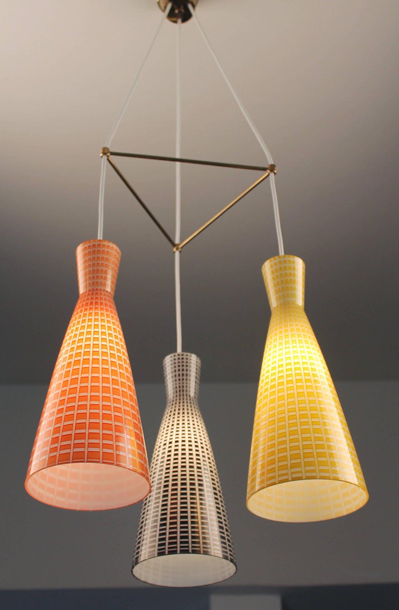 Large Glass & Brass Chandelier,  Modernist Design, Stilnovo Style Pendant Lamp  4