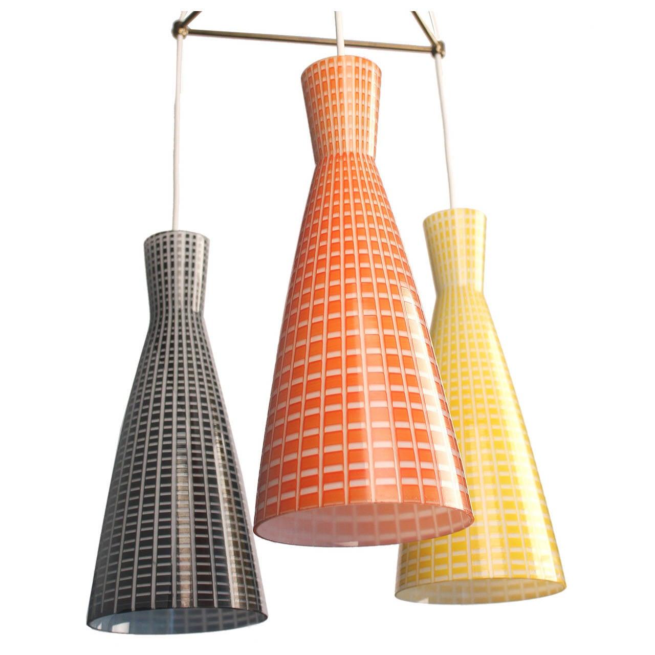 Large Glass & Brass Chandelier,  Modernist Design, Stilnovo Style Pendant Lamp  3