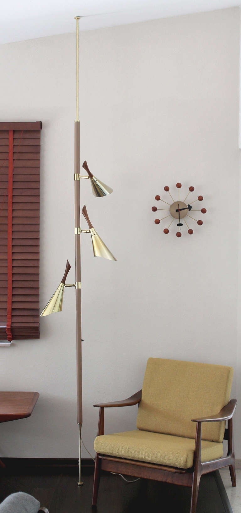 Beautiful High End Mid Century Floor To Ceiling Pole Lamp With 3 Separate  Lights, Extremely