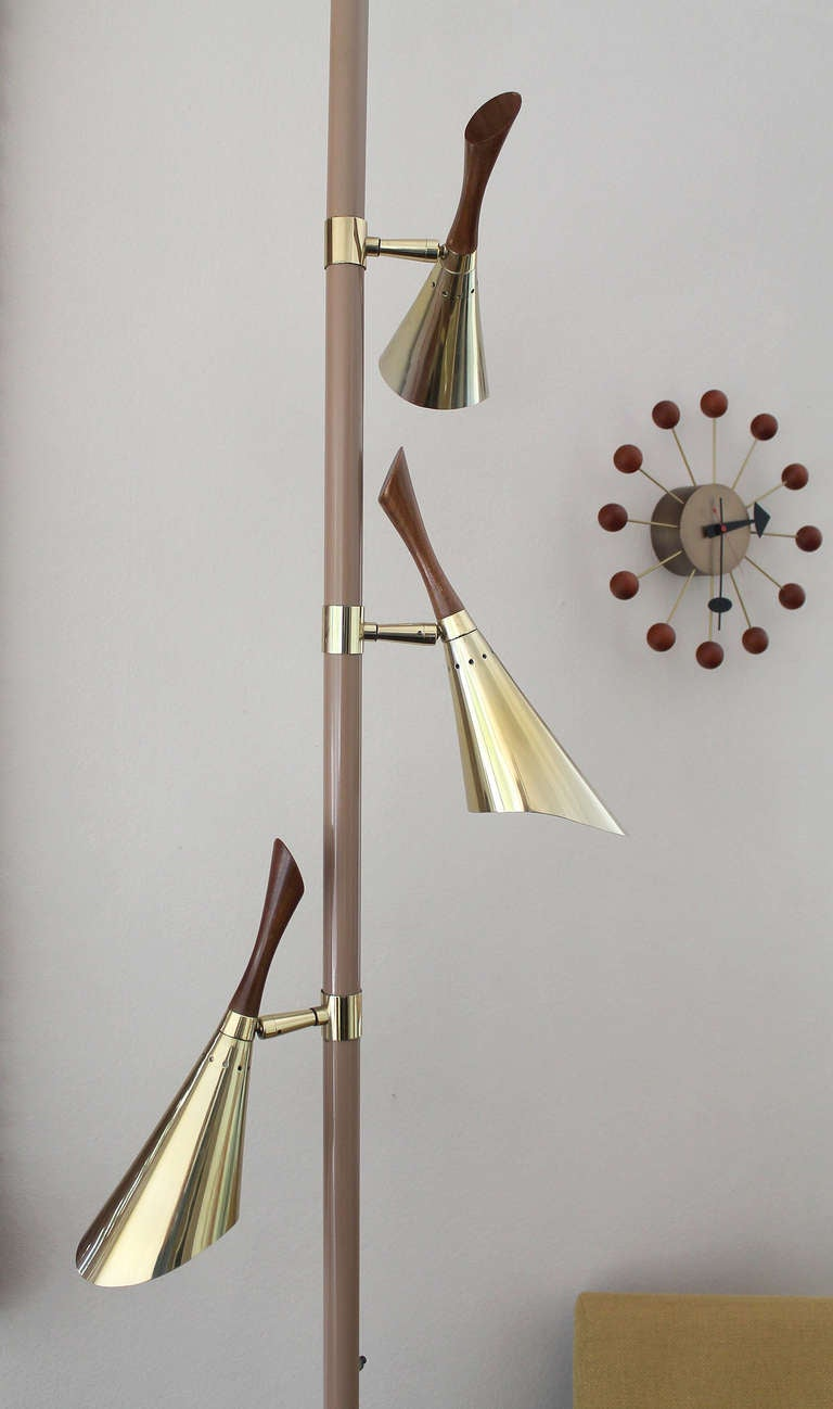 1950s 3 Lights Tension Pole Floor Lamp For Sale At 1stdibs