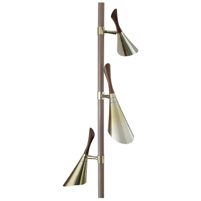1950s 3 Lights Tension Pole Floor Lamp At 1stdibs
