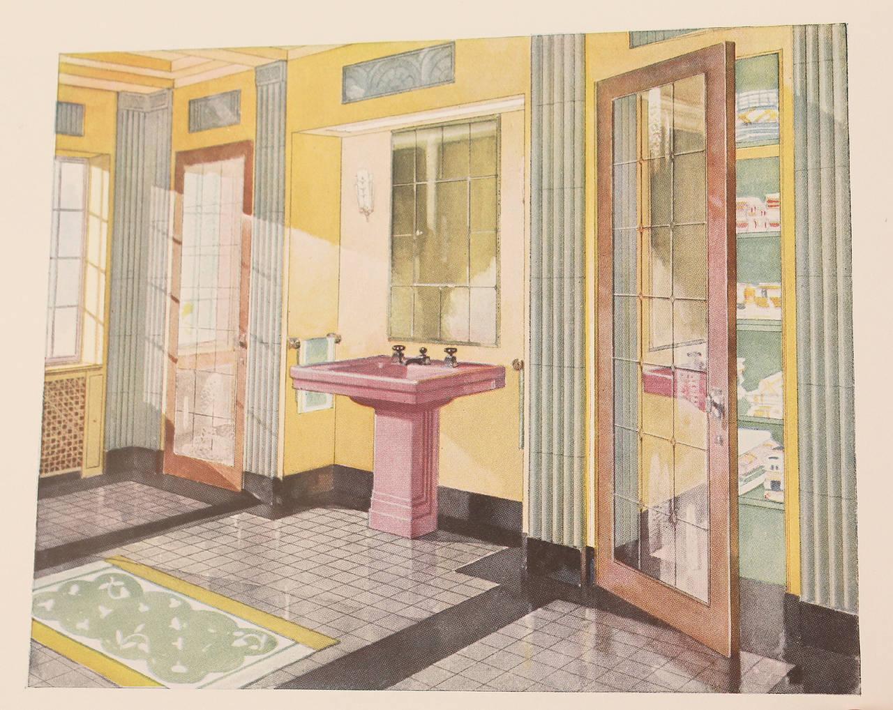 Paper 1931 Art Deco Bathroom Interior Design Architecture Reference Book For Sale