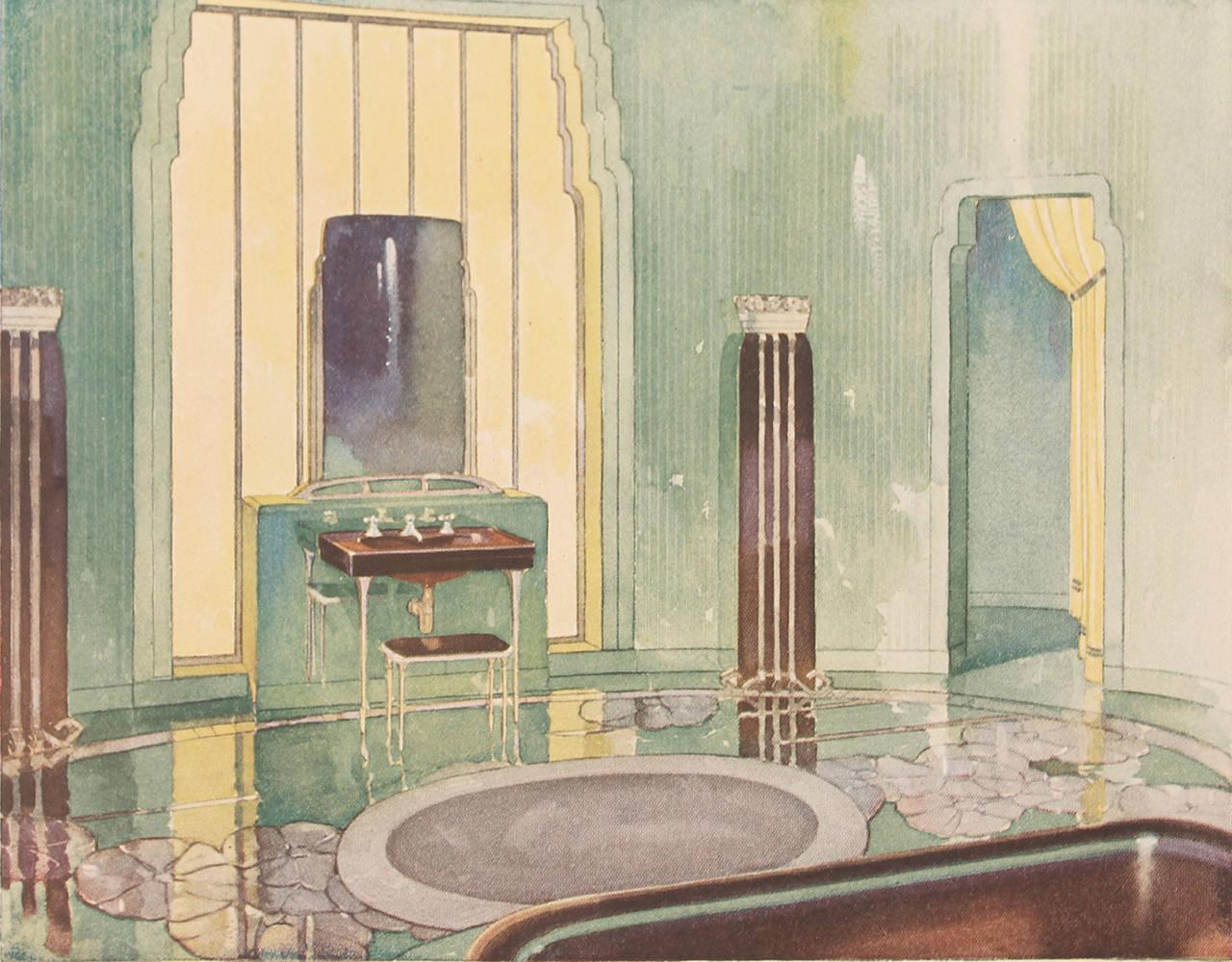 1931 Art Deco Bathroom Interior Design Architecture Reference Book In Excellent Condition For Sale Bremen