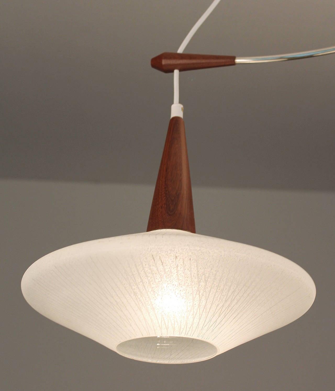 mid century danish glass and teak chandelier pendant light. Black Bedroom Furniture Sets. Home Design Ideas