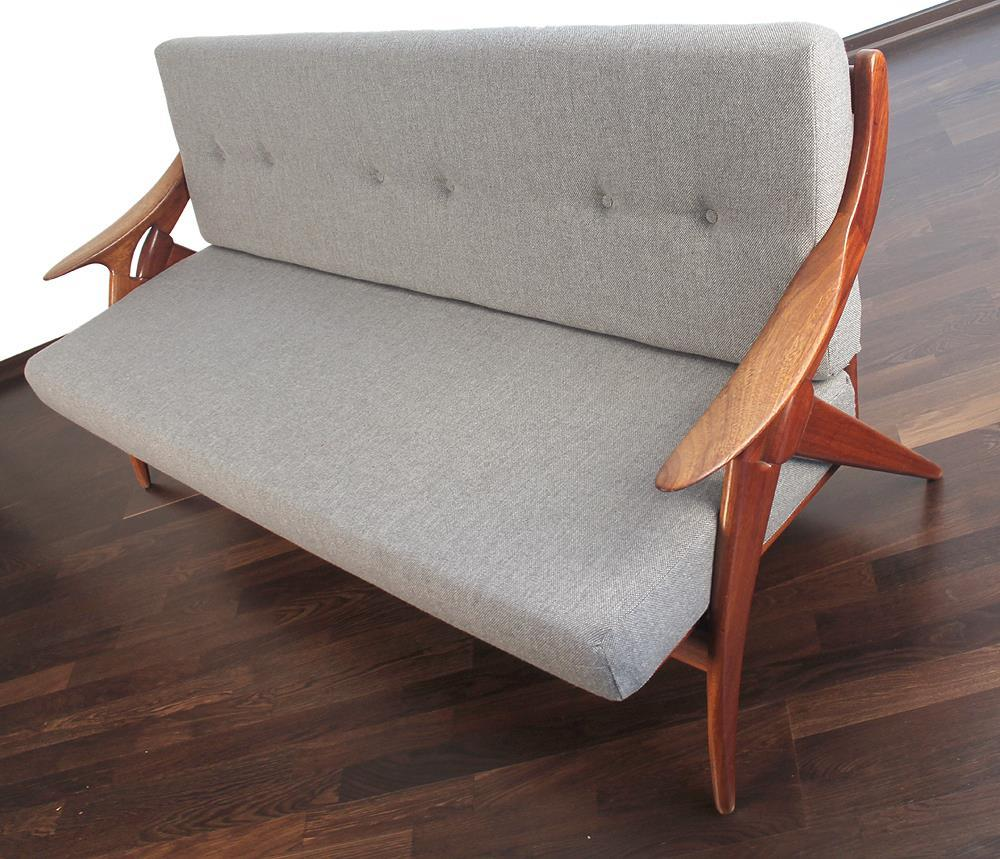 1960s mid century teak de ster danish style sofa or couch for Mid century style couch