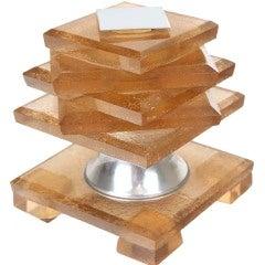 French Maison Desny Peach Glass Table Lamp, 1930s Modernist Design Light
