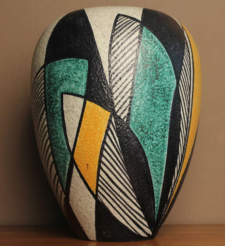 Large Mid Century Pottery Vase With Abstract Patterns