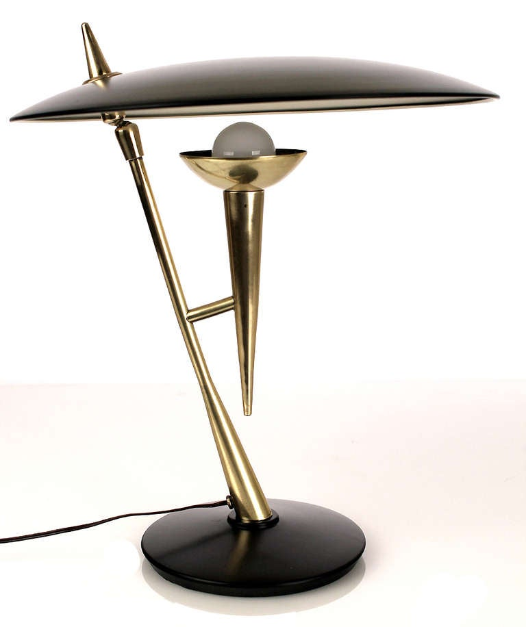 stilnovo desk table lamp brass gold black at 1stdibs. Black Bedroom Furniture Sets. Home Design Ideas