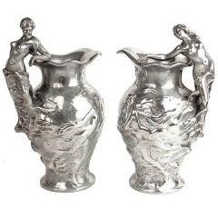 Pair of French Art Nouveau Empire Style Vases Nymph Woman Sculpture Figurine