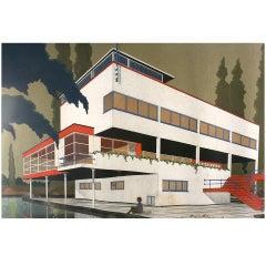 Exceptionnal 1933 Bauhaus Architect Villa Blueprint and Drawing, Belgium