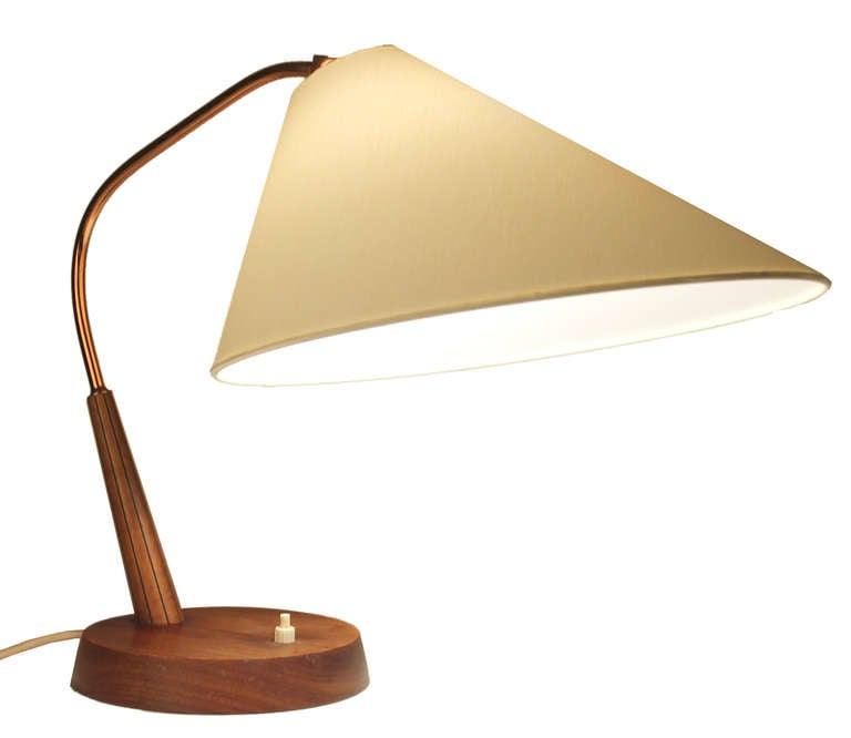 mid century teak table lamp with asymetrical shade at 1stdibs. Black Bedroom Furniture Sets. Home Design Ideas
