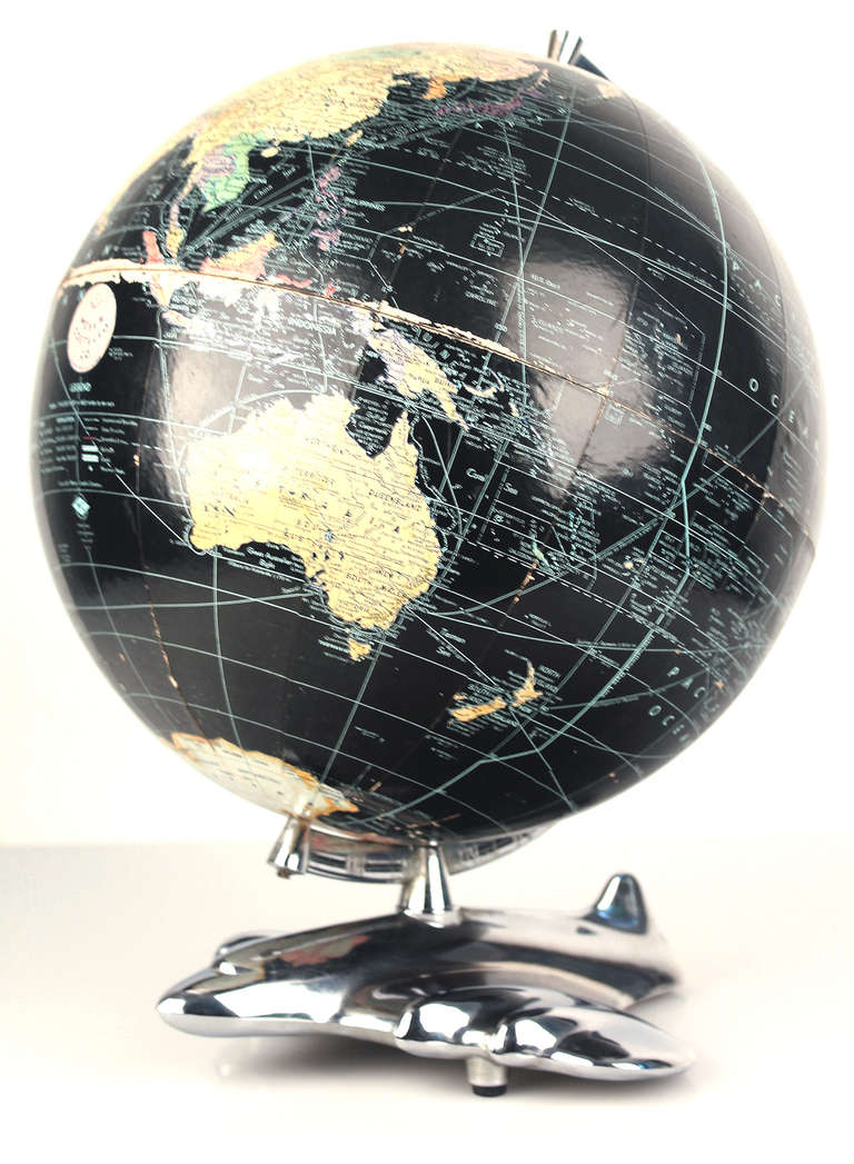 art deco modernist costello world globe with aircraft base. Black Bedroom Furniture Sets. Home Design Ideas