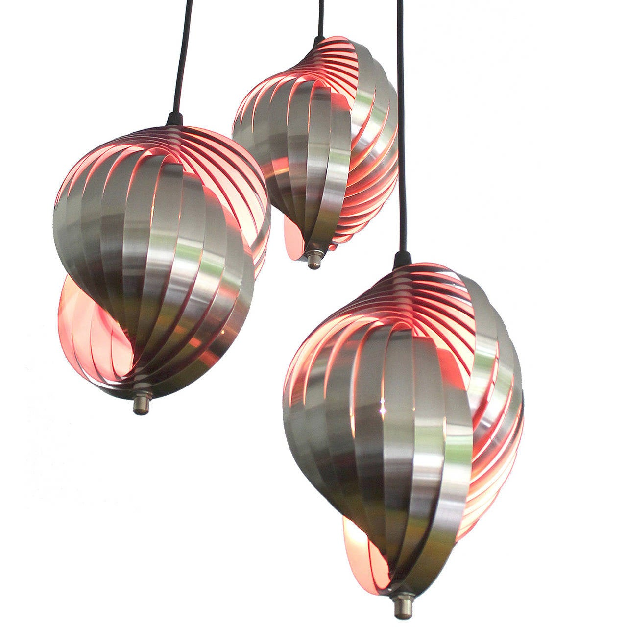 chandelier 1960s modernist design triple light for sale at 1stdibs