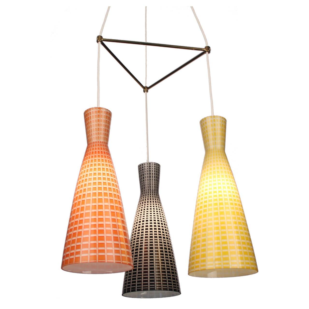 Large Glass & Brass Chandelier,  Modernist Design, Stilnovo Style Pendant Lamp  2