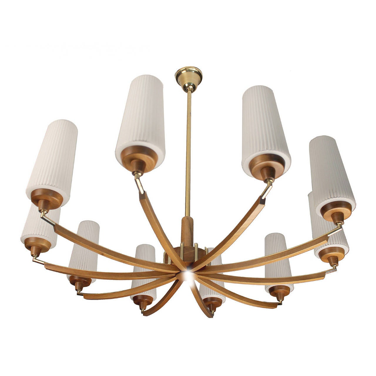 Italian Wood And Brass Chandelier Glass Ceiling Fixture Mid Century Modernist 60s At 1stdibs