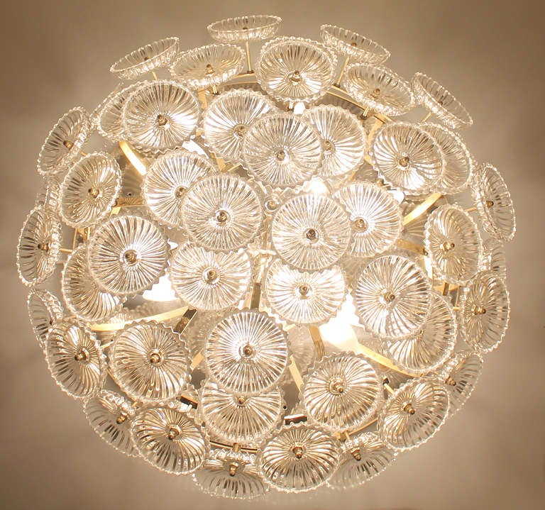 German Ernst Palme Glass Flowers Flush Mount Chandelier