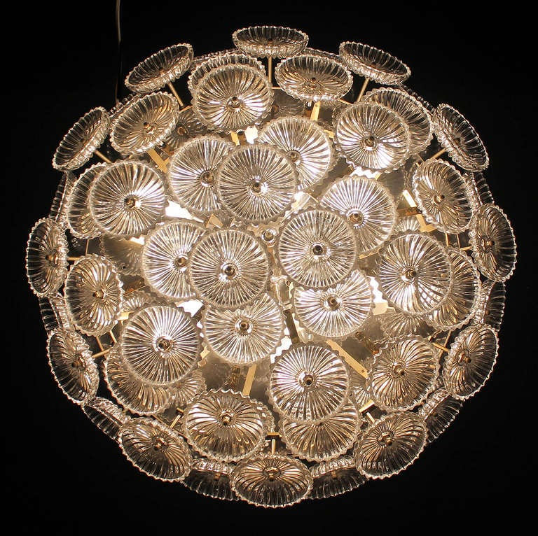 German Ernst Palme Glass Flowers Flush Mount Chandelier At