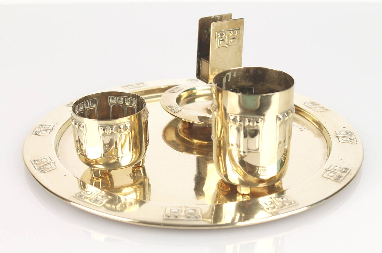 wmf art deco jugendstil brass smoker set with tray box. Black Bedroom Furniture Sets. Home Design Ideas