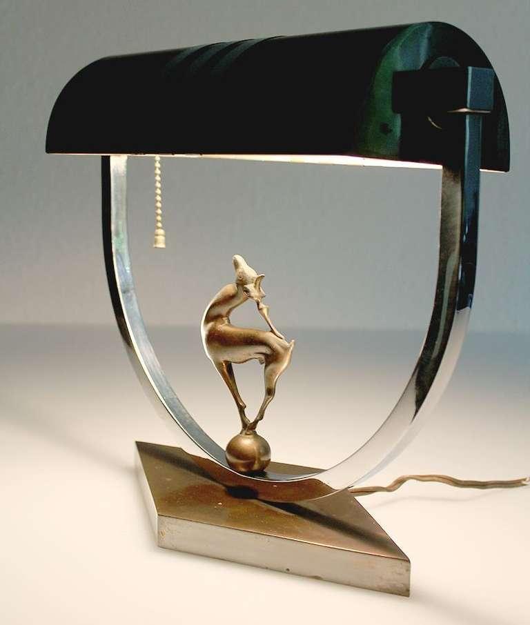 Desk Light For Art: Art Deco Desk Lamp With Stag Deer Sculpture At 1stdibs
