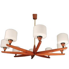 Danish Modern Luxus Teak Chandelier Modernist Glass Ceiling Lamp 60s 50s