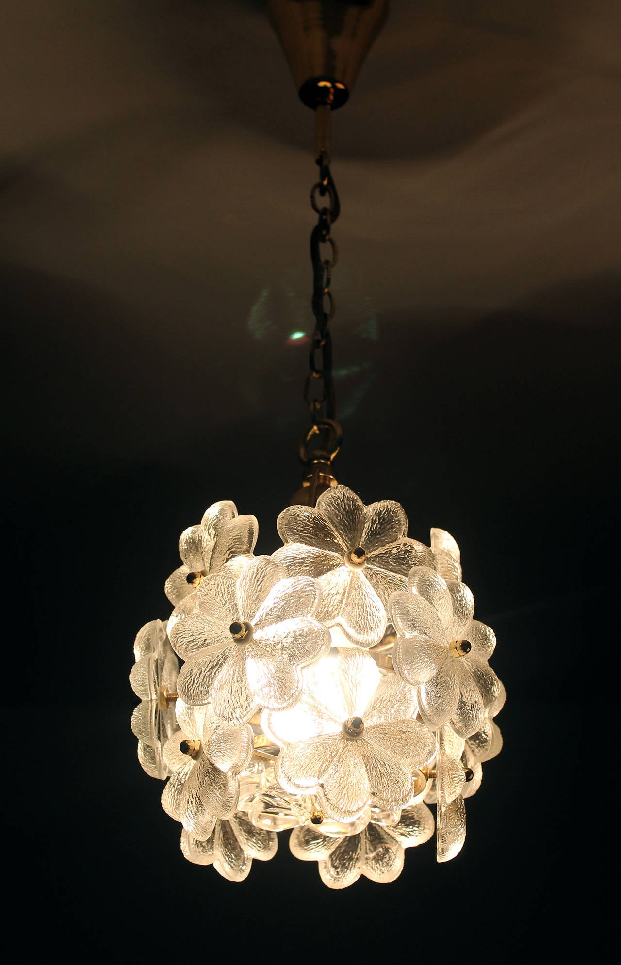 Palwa glass flower pendant light brass ceiling lamp floral palwa glass flower pendant light brass ceiling lamp floral modernist 1960 3 arubaitofo Gallery