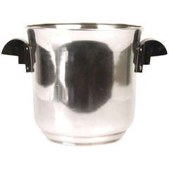 French Art Deco Machine Age Champagne Ice Bucket Wine Cooler Modernist, 1930s