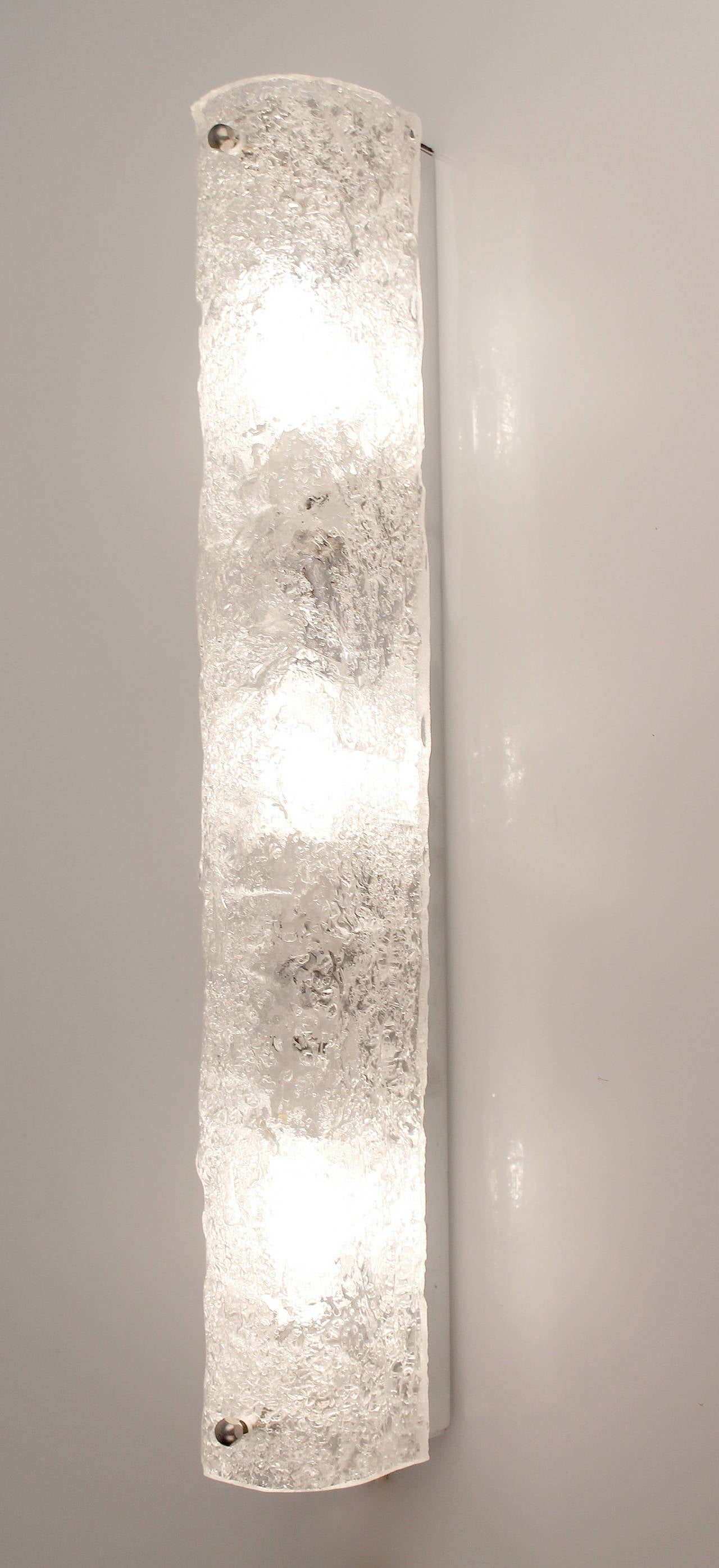 Pair of Large Murano Glass Sconces Chrome Wall Fixtures Hollywood Regency 60s at 1stdibs