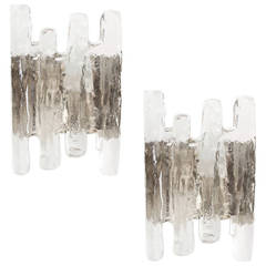 Pair of Kalmar Murano Glass Sconces Chrome Wall Fixtures
