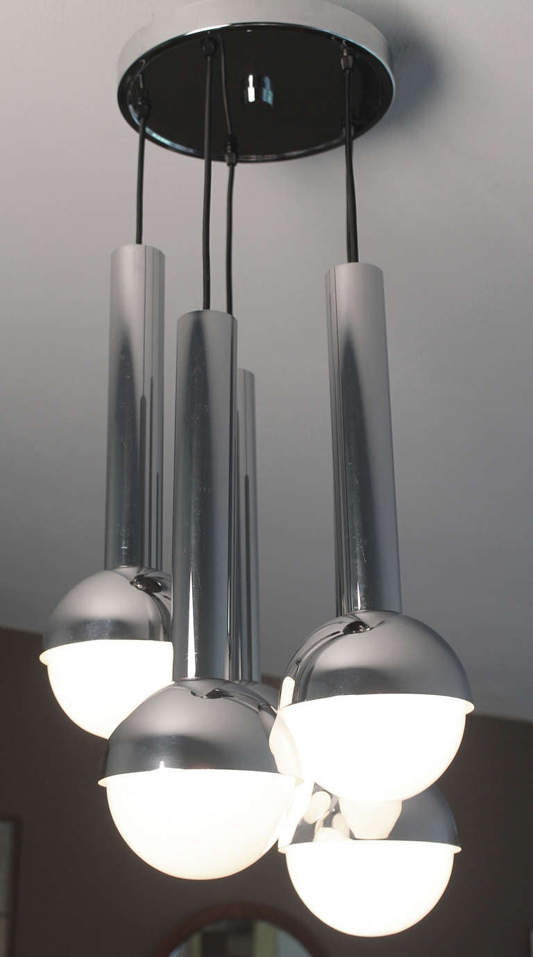 1970s Staff Cascade Chandelier Chrome Glass Pendant Space Age At 1stdibs