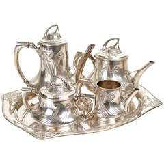 WMF Art Nouveau Silver Plate Coffee and Tea Service Set, 1900 Modernist Design