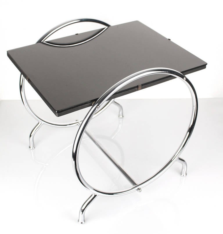 Art Deco Modernist Side Or Cocktail Table In Chrome Glass At 1stdibs