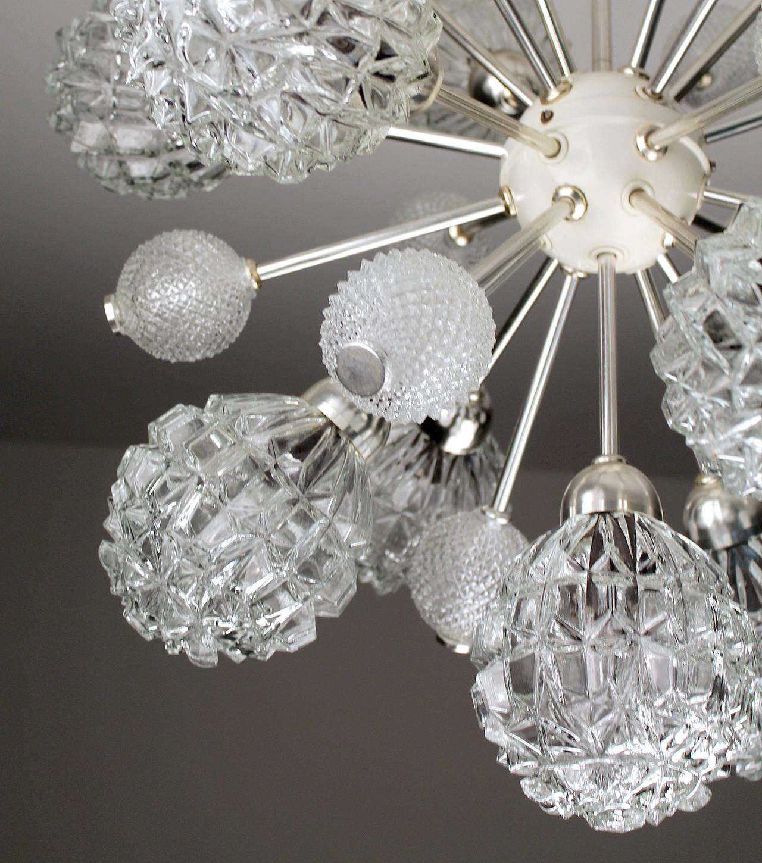 Metal  Large Sunburst Glass Chandelier,  1960s Modernist  Stilnovo Style Pendant Lamp  For Sale