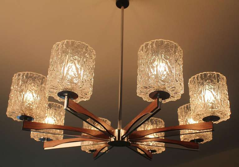 Large 8 Spokes Kaiser Chandelier Ice Glas Chrome Teak At