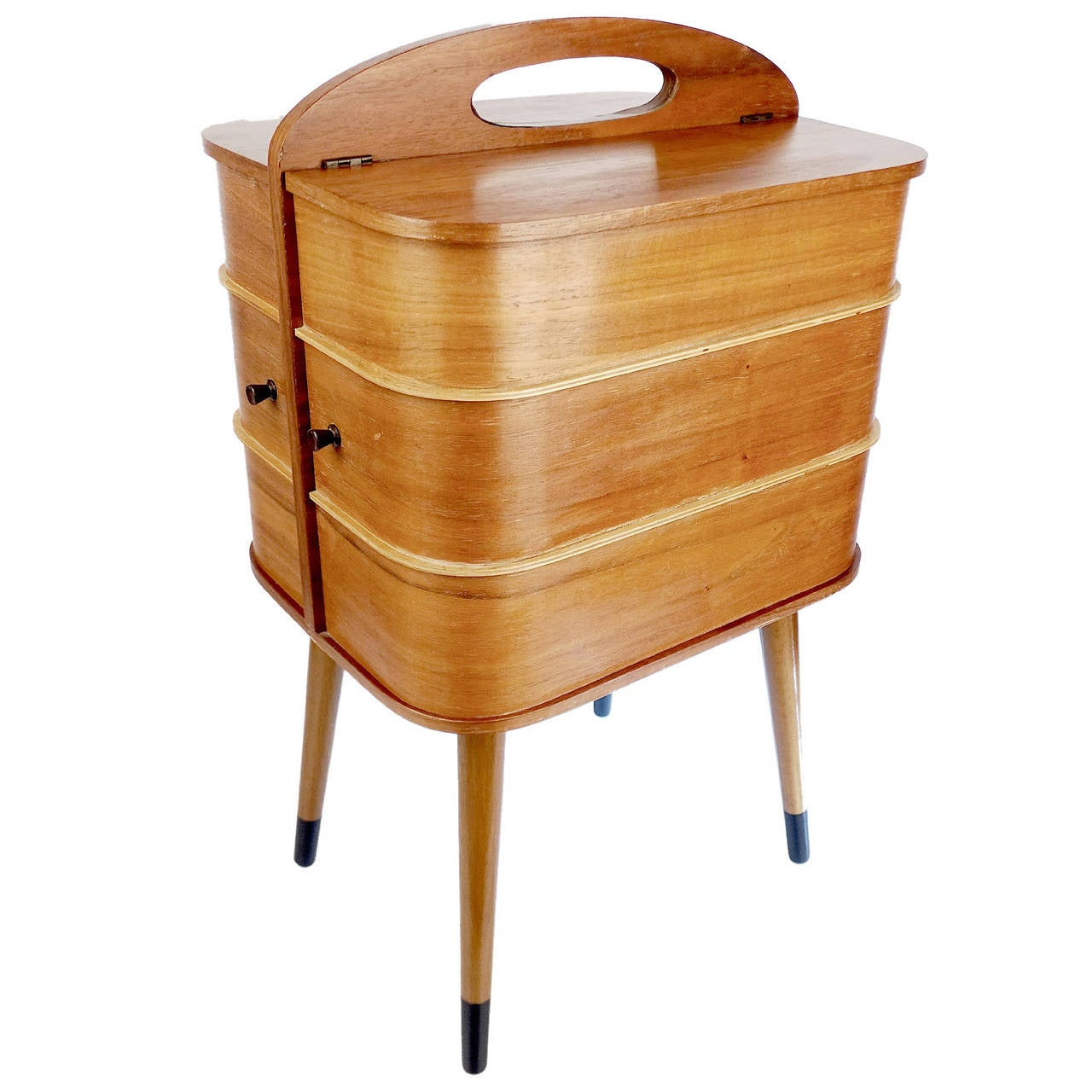 Danish portable sewing box vanity side table with for Large side table with drawers