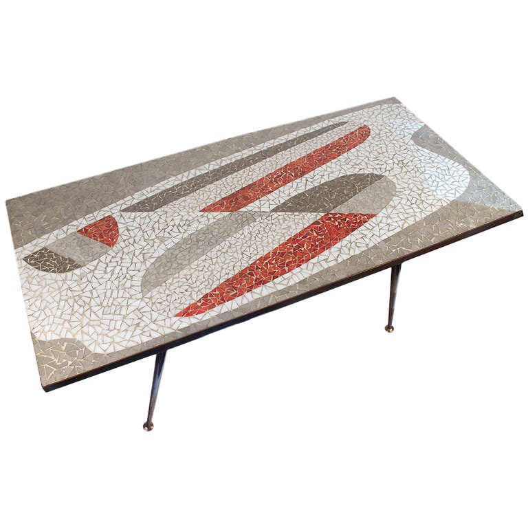 Mosaic Table Glass Ceramic Grey Red Mid Century 1950s