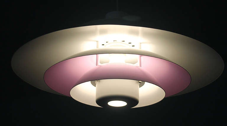 Danish Form Light Multi Layered Chandelier Purple White 6