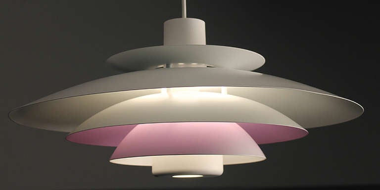 Danish Form Light Multi Layered Chandelier Purple White 5