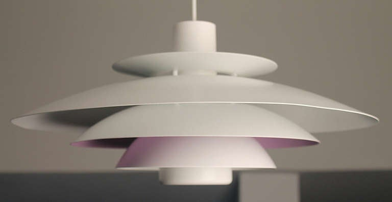 Danish Form Light Multi Layered Chandelier Purple White 4