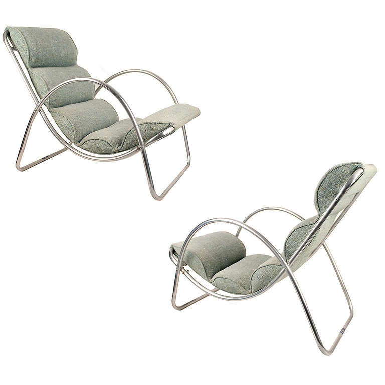 Pair halliburton lounge chairs 1930s art deco machine age for 1930s chaise lounge