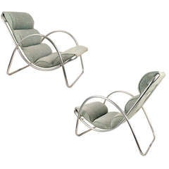 Pair Halliburton Lawn Lounge Chairs Art Deco Machine Age 1930s 30s Modernist