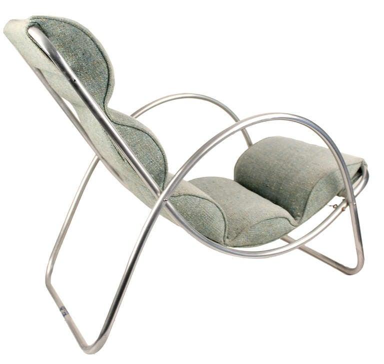 Aluminum Pair Halliburton Lounge Chairs, 1930s  Art Deco Machine Age Modernist Design For Sale