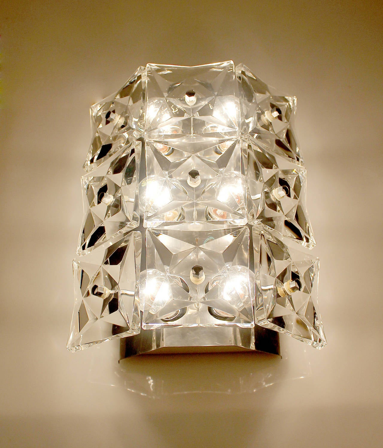 Large Crystal Wall Sconces : Pair of Large Kinkeldey Crystal Sconces Chrome Wall Lamps Modernist Design at 1stdibs