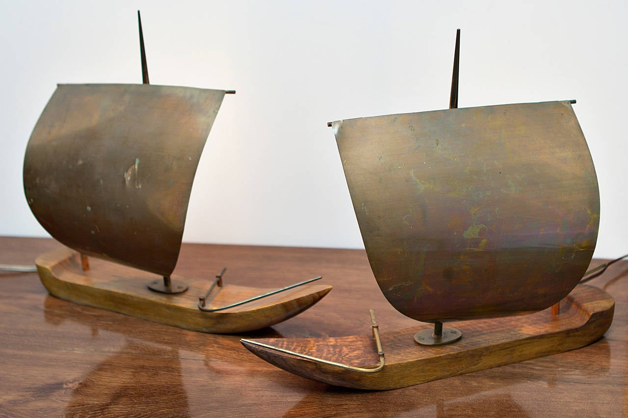 Pair of sail boat table lamps by hagenauer vienna circa 1935 at pair of sail boat table lamps by hagenauer vienna circa 1935 2 geotapseo Image collections