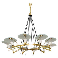 Stilnovo Chandelier, Ten Lights, Italy, circa 1950