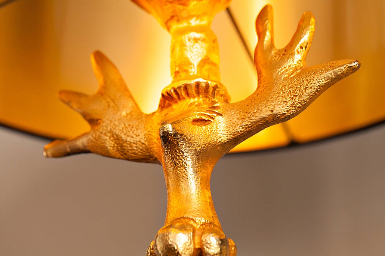 "Gilt Pierre Casenove Table Lamp ""TOTEM"" for Fondica, France, circa 1990 For Sale"