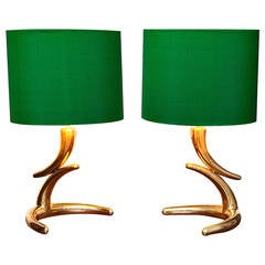 Pair of French Brass Table Lamps in the Style of Philippe Hiquily, circa 1970