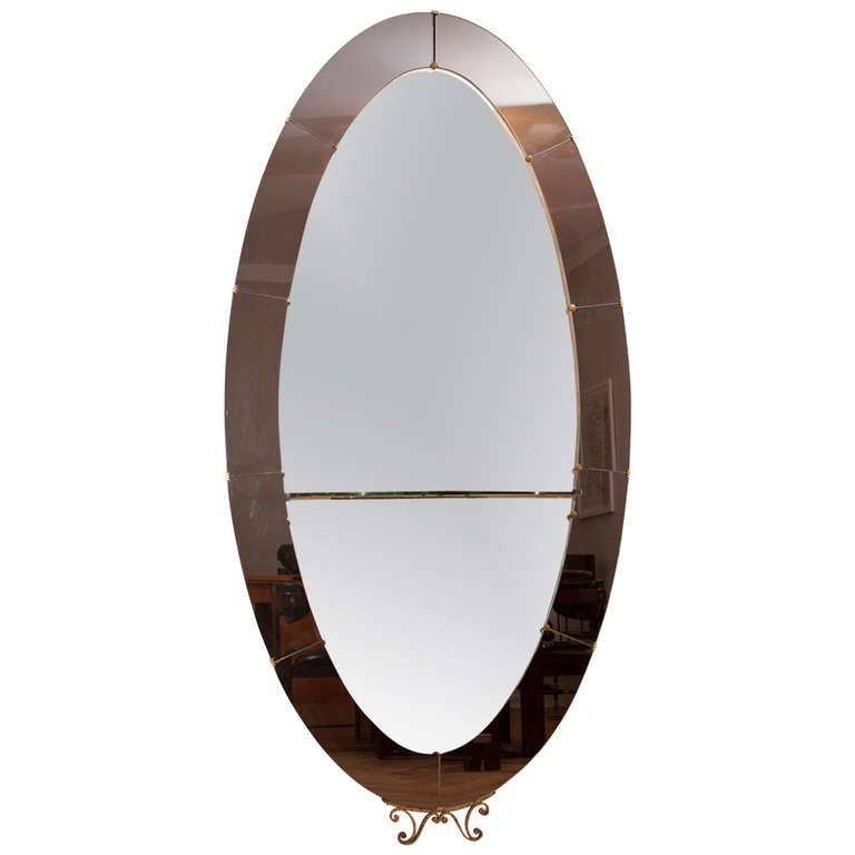 Big crystal art mirror with console from italy circa 1955 for Big full length mirror